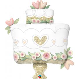 Balon foliový Třpytivý svatební dort 104cm
