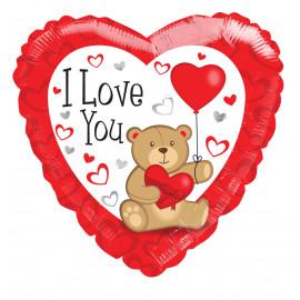 Balon foliový Srdce Medvídek ILYou 46cm