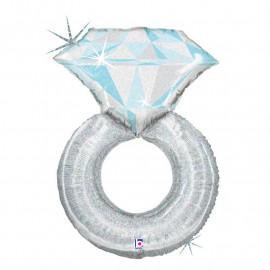Balon foliový Zásnubní prsten Platinum 94cm