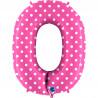 Balon foliový číslice - 0 -Růžová s puntíky 102cm