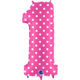 Balon foliový číslice - 1 - Růžová s puntíky 102cm