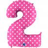 Balon foliový číslice - 2 - Růžová s puntíky 102cm