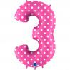 Balon foliový číslice - 3 - Růžová s puntíky 102cm