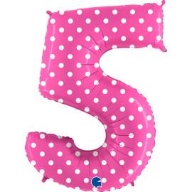 Balon foliový číslice - 5 - Růžová s puntíky 102cm