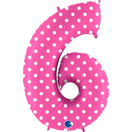 Balon foliový číslice - 6 - Růžová s puntíky 102cm