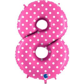 Balon foliový číslice - 8 - Růžová s puntíky 102cm