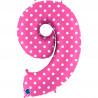 Balon foliový číslice - 9 - Růžová s puntíky 102cm