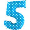 Balon foliový číslice - 5 - Tyrkysová s puntíky 102cm