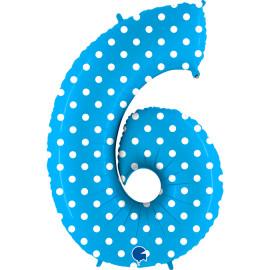 Balon foliový číslice - 6 - Tyrkysová s puntíky 102cm
