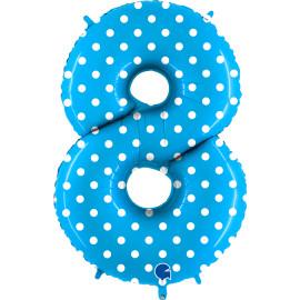 Balon foliový číslice - 8 - Tyrkysová s puntíky 102cm