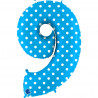 Balon foliový číslice - 9 - Tyrkysová s puntíky 102cm