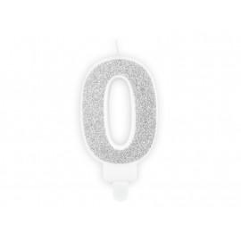Narozeninová svíčka 0, stříbrná, 7cm
