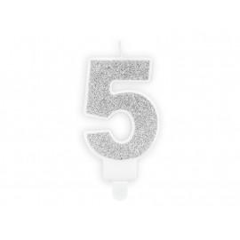 Narozeninová svíčka 5, stříbrná, 7cm