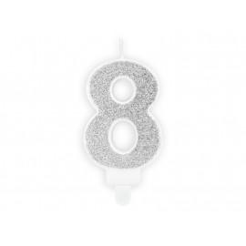 Narozeninová svíčka 8, stříbrná, 7cm