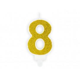 Narozeninová svíčka 8, zlatá, 7cm