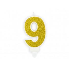 Narozeninová svíčka 9, zlatá, 7cm
