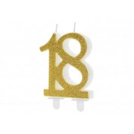 Narozeninová svíčka 18, zlatá, 7,5cm