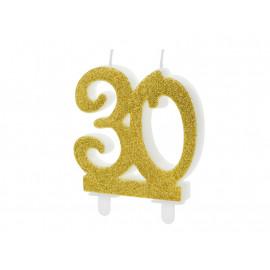 Narozeninová svíčka 30, zlatá, 7,5cm