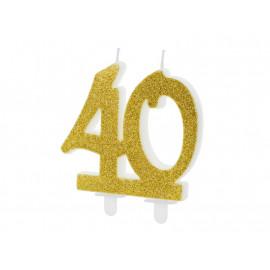 Narozeninová svíčka 40, zlatá, 7,5cm