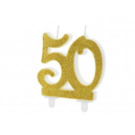 Narozeninová svíčka 50, zlatá, 7,5cm