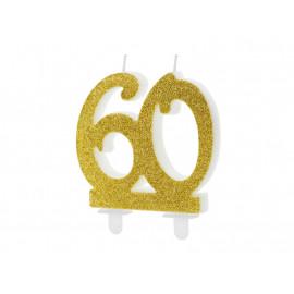 Narozeninová svíčka 60, zlatá, 7,5cm