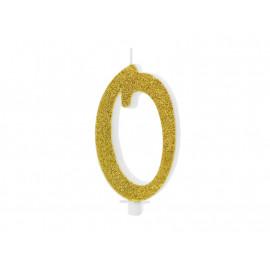 Narozeninová svíčka 0, zlatá, 10cm