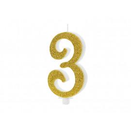 Narozeninová svíčka 3, zlatá, 10cm