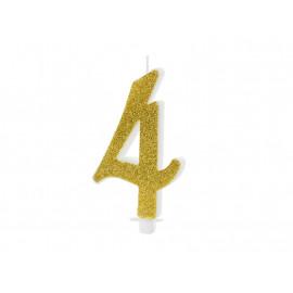 Narozeninová svíčka 4, zlatá, 10cm