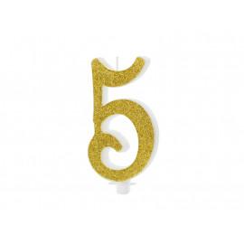 Narozeninová svíčka 5, zlatá, 10cm