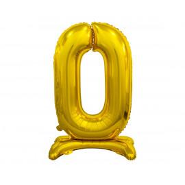 Balon foliový číslice 0 na podstavci Zlatá 74cm