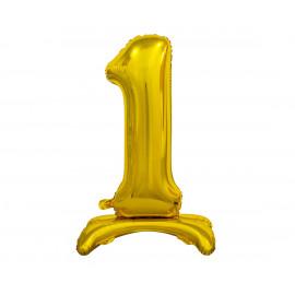 Balon foliový číslice 1 na podstavci Zlatá 74cm