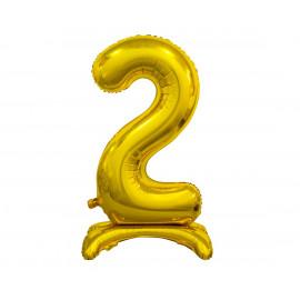 Balon foliový číslice 2 na podstavci Zlatá 74cm