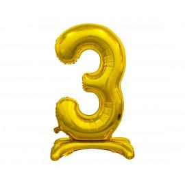 Balon foliový číslice 3 na podstavci Zlatá 74cm