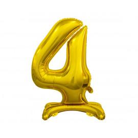 Balon foliový číslice 4 na podstavci Zlatá 74cm
