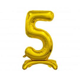 Balon foliový číslice 5 na podstavci Zlatá 74cm