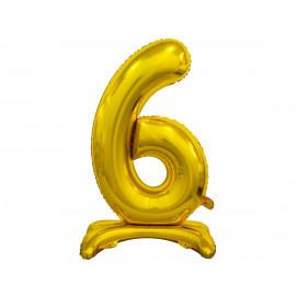 Balon foliový číslice 6 na podstavci Zlatá 74cm