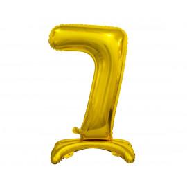 Balon foliový číslice 7 na podstavci Zlatá 74cm