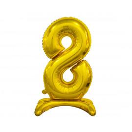Balon foliový číslice 8 na podstavci Zlatá 74cm