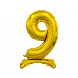 Balon foliový číslice 9 na podstavci Zlatá 74cm