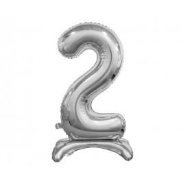 Balon foliový číslice 2 na podstavci Stříbrná 74cm