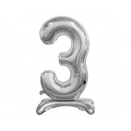 Balon foliový číslice 3 na podstavci Stříbrná 74cm