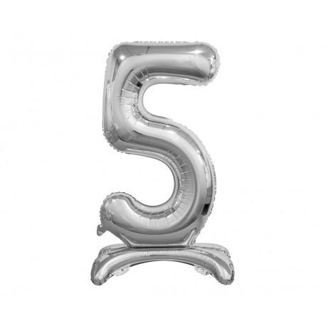Balon foliový číslice 5 na podstavci Stříbrná 74cm