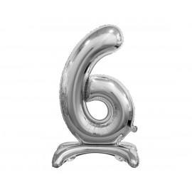 Balon foliový číslice 6 na podstavci Stříbrná 74cm