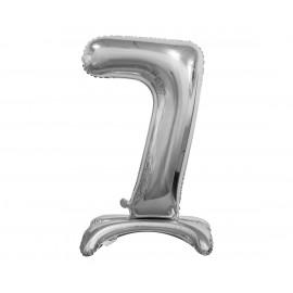 Balon foliový číslice 7 na podstavci Stříbrná 74cm
