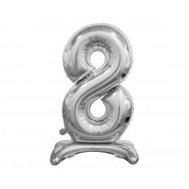 Balon foliový číslice 8 na podstavci Stříbrná 74cm