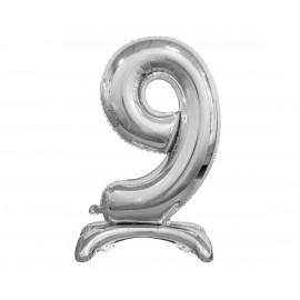 Balon foliový číslice 9 na podstavci Stříbrná 74cm