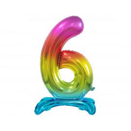 Balon foliový číslice 6 na podstavci Duhová 74cm