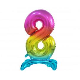 Balon foliový číslice 8 na podstavci Duhová 74cm