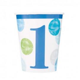 Papírové kelímky 1. narozeniny modré s puntíky 270 ml, 8 ks