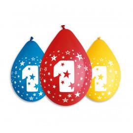 Závěsný balonek č.1, 30cm, pastel mix, bal.5ks